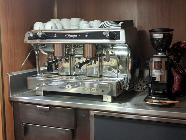 The Italian FREMM Alpino comes equipped with no fewer than five espresso machines. (Staff photo by David B. Larter)
