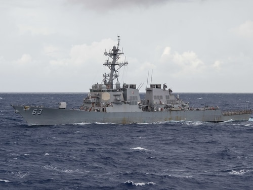 The U.S. destroyer Stethem underway in the Philippine Sea. The Stethem is searching for a sailor in the South China Sea who was reported missing Aug. 1, 2017. (MC2 Kevin V. Cunningham/U.S. Navy)