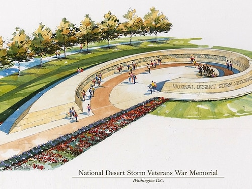 A preliminary design of the proposed National Desert Storm War Memorial. The final design will be developed over the next two years and may look different, depending on the site ultimately chosen. (Courtesy of Randy Schumacher, CSO Architects)