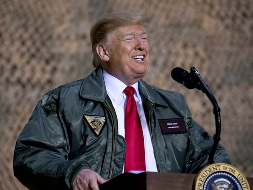 President Donald Trump speaks at a hanger rally at Al Asad Air Base, Iraq, Wednesday, Dec. 26, 2018. (Andrew Harnik/AP)