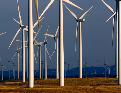 This May 6, 2013, file photo shows a wind turbine farm owned by PacifiCorp near Glenrock, Wyo. (Matt Young/AP)