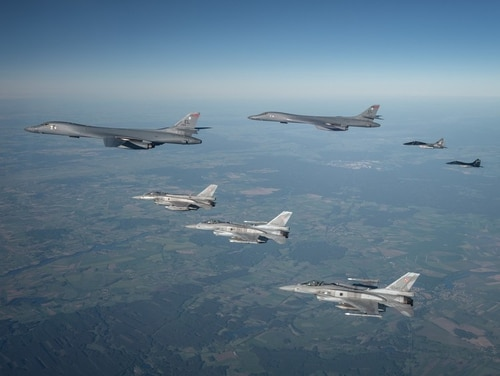 Polish F-16s and MiG-29s escort a B1B Lancer during a training mission for Bomber Task Force Europe, May 29, 2020. (Courtesy photo by Polish Air Force)