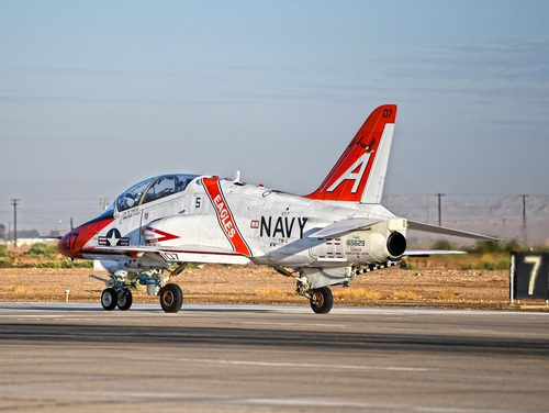 Navy and Marine Corps student pilots operate the T-45C Goshawk jet aircraft during training onboard Naval Air Facility El Centro, Calif., March 3. (MC3 Drew Verbis/Navy)