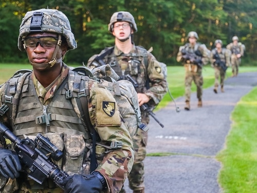 New U.S. Military Academy cadets complete the first leg of March Back Monday Aug. 10. The nine-mile ruck march around West Point marks the end of cadet basic training. (Brandon O'Connor/Army)