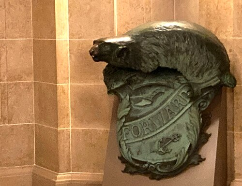 A Badger and Shield statue is seen outside the governor's Capitol office in Madison, Wis., Jan. 27, 2021. (Todd Richmond/AP)