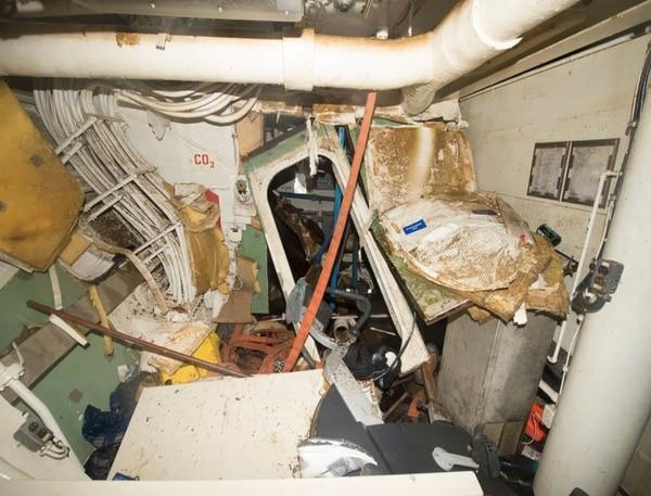 Damage to USS Fitzgerald (U.S. Navy photo)