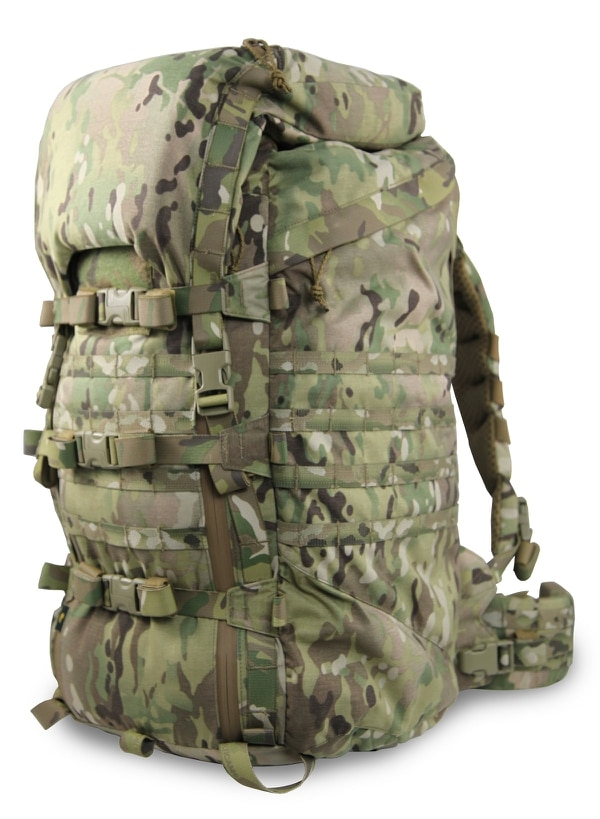 This Catoma rucksack uses a quick-change carbon fiber frame and has a baseboard design that gives troops a way to ditch sustainment gear and proceed to the mission objective with only essential gear. (Catoma)