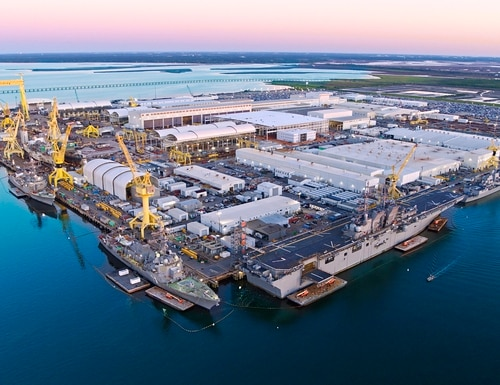 A aerial view of Ingalls Shipbuilding in Pascagoula, Miss., which makes vessels for the U.S. Navy. (Derek Fountain/Huntington Ingalls Industries)