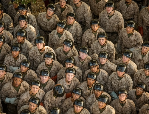 Recruits watch a rappel demonstration Oct. 4, on Parris Island, South Carolina. (Cpl. Joseph Jacob/Marine Corps)