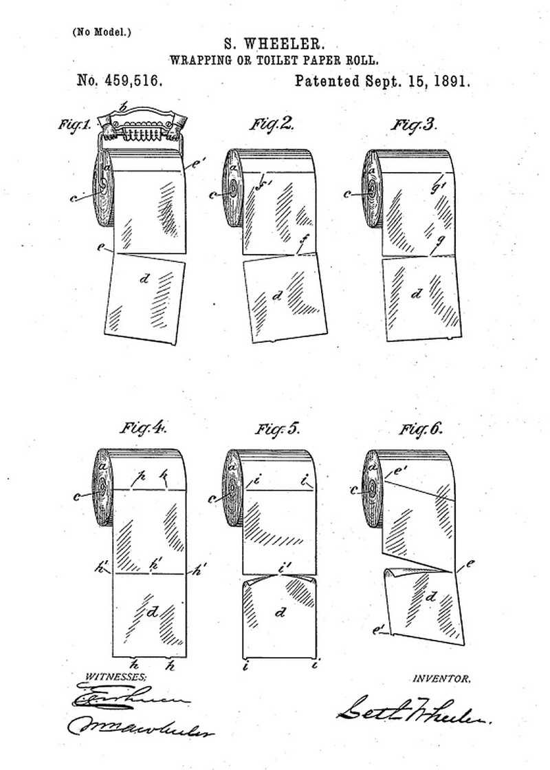 With indoor flush toilets came toilet paper—newsprint, pages from mail-order catalogs and corncobs were fine for outhouse pits, but were not flushable. Rolled, perforated paper was first patented in the late 1870s; by the 1890s it had assumed its familiar on-a-tube form. (