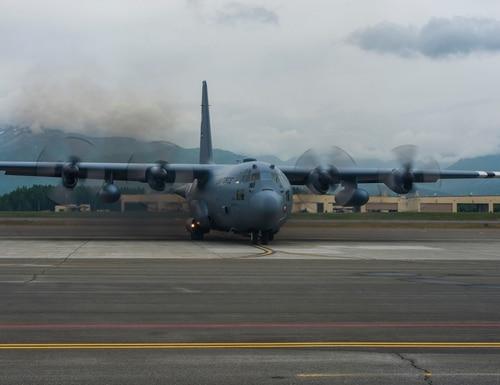A C-130 prepares to take off at Joint Base Elmendorf-Richardson, Alaska June 18, during Red Flag-Alaska 19-2. (U.S. Air Force/2nd Lt. Mark Goss)