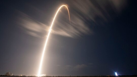 A Falcon 9 carrying GPS III SV04 lifts off in 2020 from Cape Canaveral Air Force Station, Florida, on a SpaceX Falcon 9 rocket. (SpaceX)