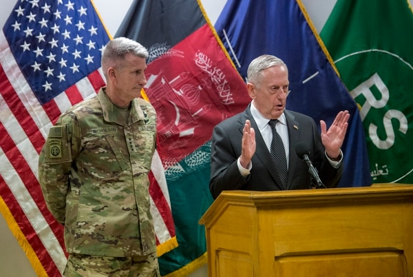 Secretary of Defense Jim Mattis and U.S. Army Gen. John Nicholson, commander of Resolute Support, host a joint press conference on April 24, 2017, at the Resolute Support Headquarters in Kabul, Afghanistan. (Air Force Tech. Sgt. Brigitte N. Brantley/DoD)