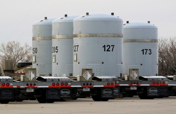 In this on March 6, 2014, file photo, empty nuclear waste shipping containers sit in front of the Waste Isolation Pilot Plant near Carlsbad, N.M. (Susan Montoya Bryan/AP)
