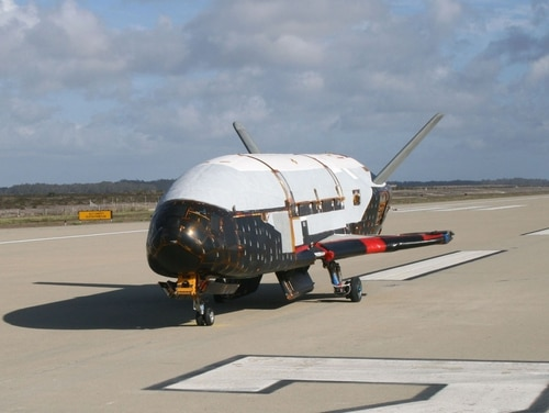 In a testing procedure, the X-37B Orbital Test Vehicle taxis on the flightline March 30, 2010, at the Astrotech facility in Titusville, Fla. (Courtesy of the U.S. Air Force)