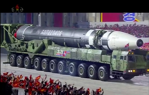 This image made from video broadcast by North Korea's KRT, shows a military parade with what appears to be possible new intercontinental ballistic missile at the Kim Il Sung Square in Pyongyang, Oct. 10, 2020. (KRT via AP)
