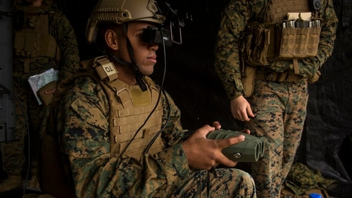 The Augmented Immersive Team Trainer first got testing by Marines a few years ago. The device program has been renamed the Mobile Fire Support Trainer and is expected to reach the fleet by late next year. (Lance Cpl. Juan A. Soto-Delgado/Marine Corps)