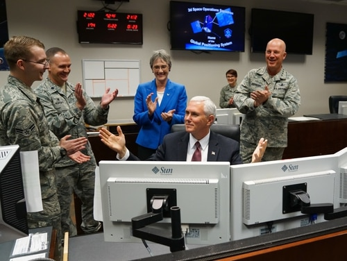 Vice President Mike Pence sends a payload command to a Global Positioning System satellite at Schriever Air Force Base, Colo., June 23, 2017. Pence was on base for a space orientation in support of the administration's relaunch of the National Space Council. (Christopher DeWitt/Air Force)