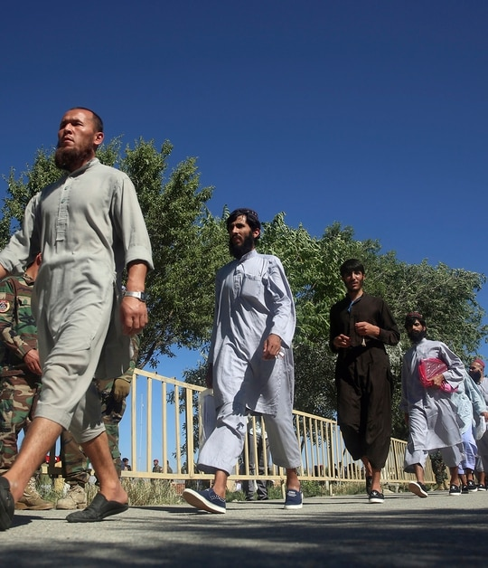Afghan Taliban prisoners are released from Bagram Prison in Parwan province, Afghanistan, Tuesday, May 26, 2020. The Afghan government freed hundreds of prisoners, its single largest prisoner release since the U.S. and the Taliban signed a peace deal earlier this year that spells out an exchange of detainees between the warring sides. (Rahmat Gul/AP)