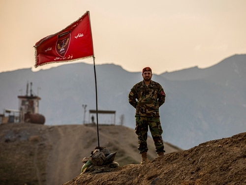 Afghan National Army soldier stand on top of a hill during a visit by Afghan Deputy Defense Minister Dr. Yasin Zia and Resolute Support Commander Gen. Scott Miller in Kabul, Afghanistan, March 3, 2020. (Spc. Jeffery J. Harris/Army Reserve)