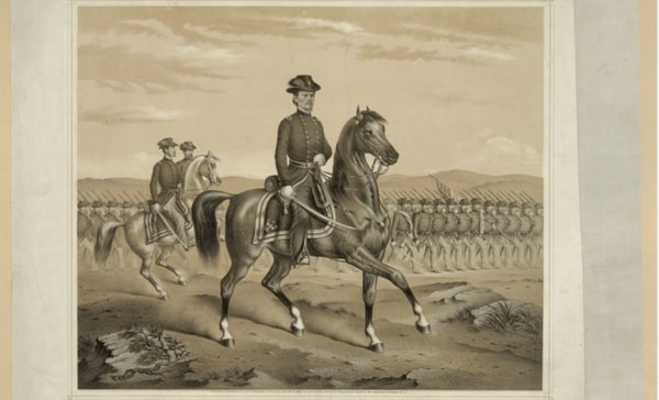 Major Gen. Franz Sigel, facing right, riding on horseback with troops marching in formation. (Library of Congress)