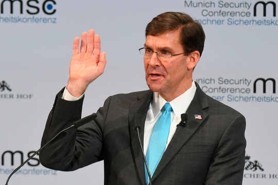 U.S. Defense Secretary Mark Esper addresses the audience of the 56th Munich Security Conference in Munich, southern Germany, on Feb. 15, 2020. (Christof Stache/AFP via Getty Images)