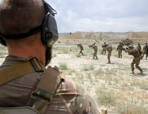 The 101st Airborne Division Soldiers conduct partnered marksmanship training at Tactical Base Gamberi in eastern Afghanistan on May 29, 2015. (Capt. Charlie Emmons/Army)
