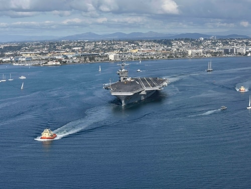 The aircraft carrier Theodore Roosevelt leaves its San Diego homeport Jan. 17, 2020. (MCS Dylan Lavin/Navy)