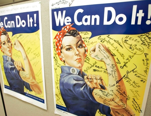 A poster showing signatures of former Rosie the Riveters is seen at the offices of the Rosie the Riveter/World War II Home Front National Historic Park in Richmond, Calif., in 2007. A woman identified by a scholar as the inspiration for the iconic female World War II factory worker has died in Washington state. (Eric Risberg/AP)