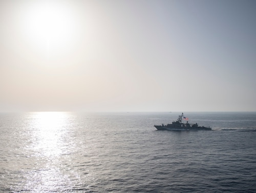 The U.S. Navy coastal patrol ship Whirlwind transits the Strait of Hormuz on May 3, 2019, to ensure maritime stability and security in the region. (MC3 Will Hardy/U.S. Navy)