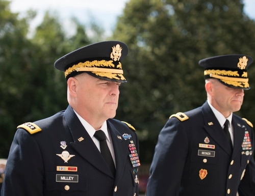 Gen. Mark A. Milley, left, Chief of Staff for the U.S. Army, and and Maj. Gen. Bradley A. Becker, right, commanding general, Joint Force Headquarters-National Capital Region and the U.S. Army Military District of Washington, walk away from the Tomb of the Unknown Soldier at Arlington National Cemetery following a wreath laying ceremony, June 14, 2016, in Arlington, Va. The wreath laying was in honor of the Army's 241st Birthday. (U.S. Army photo by Rachel Larue/Arlington National Cemetery/released)
