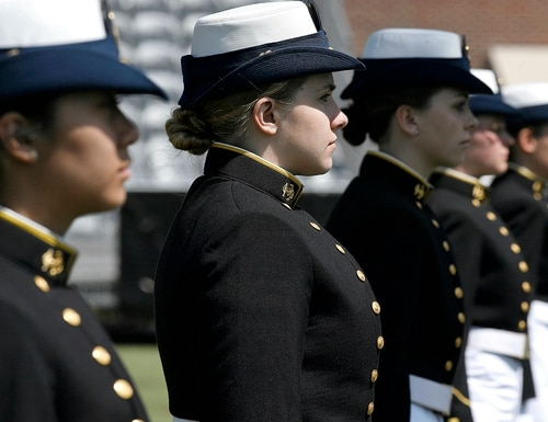 In this May 22, 2019, file photo, female cadets at the United States Coast Guard Academy line up during commencement in New London, Conn. (Jessica Hill/AP)