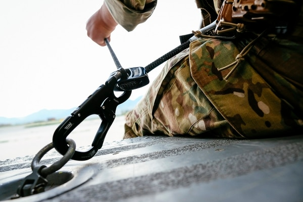 A new tether device made by the climbing gear company Petzl is a small piece of equipment that changes helicopter rides in a big way. (Petzl)