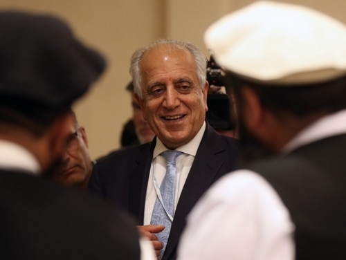 US Special Representative for Afghanistan Reconciliation Zalmay Khalilzad attends the Intra Afghan Dialogue talks in the Qatari capital Doha on July 8, 2019. (Karim Jaafar/AFP via Getty Images)