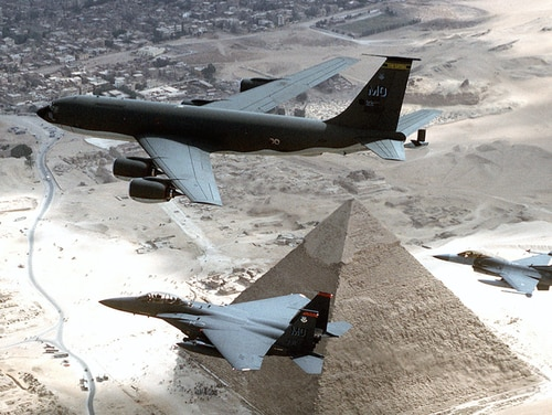 A KC-135R, F-15s and a F-16 from the 366th Air Wing out of Mountain Home AFB, Idaho, fly over the pyramids of Egypt. (Tech. Sgt. Dave Nolan/Air Force)