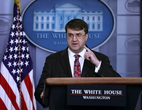 Veterans Affairs Secretary Robert Wilkie talks to reporters on Nov. 8, 2019, at the White House. (Chip Somodevilla/Getty Images)