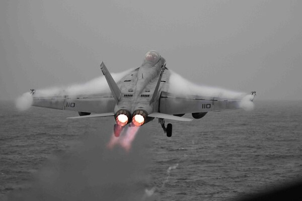 An F/A-18F Super Hornet from the Red Rippers of Strike Fighter Squadron 11 launches from the aircraft carrier Harry S. Truman on Oct. 19 in the Norwegian Sea. (Mass Communication Specialist 2nd Class Thomas Gooley/Navy)