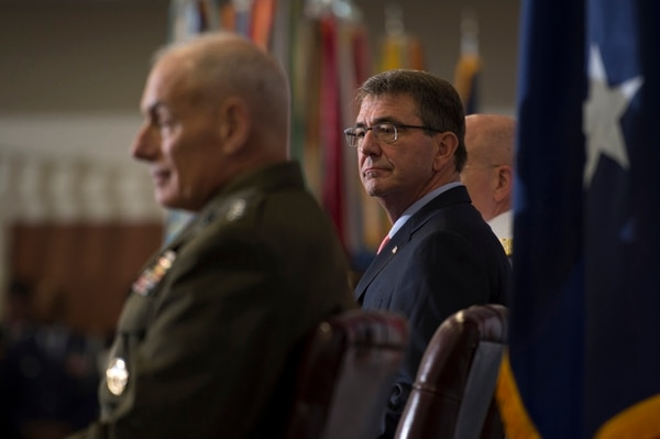 Defense Secretary Ash Carter listens to remarks during the U.S. Southern Command change of command ceremony at SOUTHCOM headquarters in Doral, Fla., Jan. 14, 2016. U.S. Navy Adm. Kurt W. Tidd is the new SOUTHCOM commander, succeeding U.S. Marine Corps Gen. John F. Kelly. (DoD News photo by EJ Hersom)