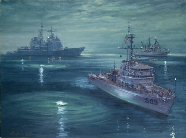 With the use of hand flares, the minesweeper Adroit marks possible mines in an effort to extract the already damaged guided-missile cruiser Princeton from a minefield. The salvage and rescue ship Beaufort stands by to assist. (Painting by John Charles Roach/ U.S. Naval History and Heritage Command)