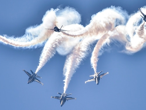 The Blue Angels, perform the