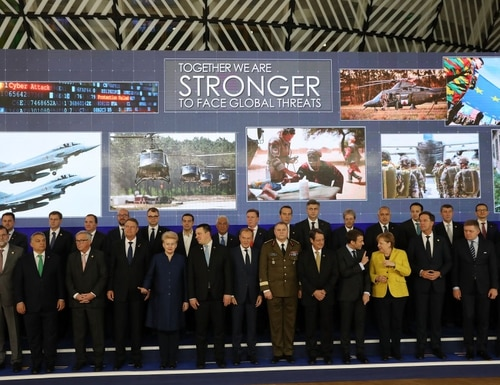 European leaders pose during the launch of the Permanent Structured Cooperation, (PESCO), a pact between 25 EU governments to fund, develop and deploy armed forces together, at the European Council on Dec. 14, 2017, in Brussels, Belgium. (Dan Kitwood/Getty Images)