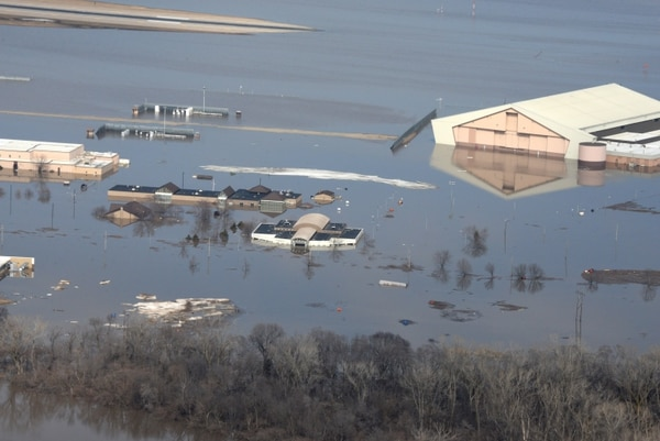 An aerial view of Offutt Air Force Base, Neb., taken March 17, 2019, shows one-third of the base water after the Missouri River flooded the area. (Tech. Sgt. Rachelle Blake/U.S. Air Force)