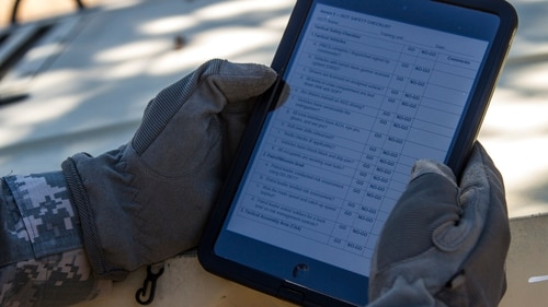 The Army has narrowed the list of locations for its new command aimed at organizing modernization to 15 cities, top service officials tell Congress. In this picture, a trainers uses an iPad during an exercise at Fort Hunter Liggett, Calif. (Sgt. Krista Rayford / U.S. Army)