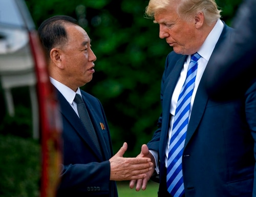 President Donald Trump shakes hands with Kim Yong Chol, former North Korean military intelligence chief and one of leader Kim Jong Un's closest aides, as after their meeting in the Oval Office of the White House in Washington, Friday, June 1, 2018. (Andrew Harnik/AP)
