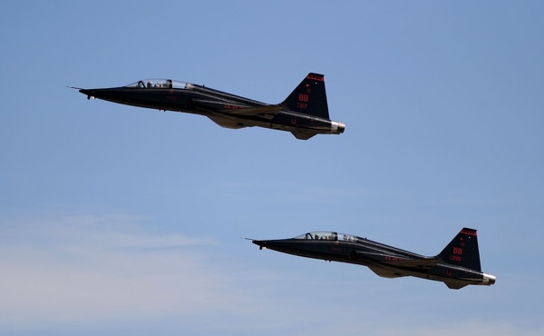 Two T-38 Talons climb skyward Feb. 28, 2013, at Beale Air Force Base, Calif. The Talon is used for pilot training and can climb from sea level to 30,000 feet in one minute. (Staff Sgt. Robert Trujillo/Air Force)