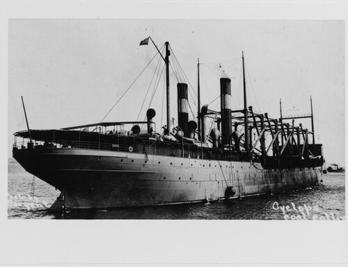 The Cyclops, a massive coal hauling Navy ship, disappeared while steaming from the Caribbean to Baltimore in 1918. What happened to the vessel and the 309 men aboard remains a mystery to this day. (U.S. Naval History and Heritage Command photo)