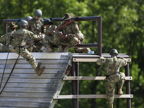 Soldiers train on the Warrior Tower on post at Fort Leonard Wood, Mo., Tuesday, May 3, 2016. (AP Photo/Orlin Wagner)