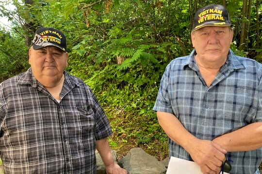 Chris Kiana, left, and Harold Rudolph pose for a photo July 20, 2020, in Anchorage, Alaska. (Mark Thiessen/AP)