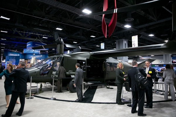 Bell's V-280 Valor on display in Washington, D.C. In addition to its increased range and speed when delivering assault troops, the aircraft will cover more than five times the area of current MEDEVAC helicopters, according to Bell.