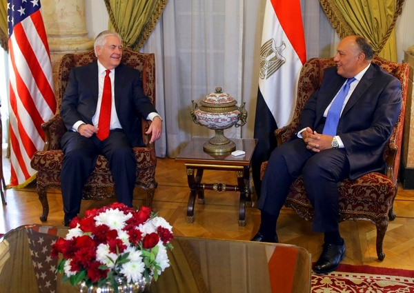 U.S. Secretary of State Rex Tillerson, left, meets Egyptian Foreign Minister Sameh Shoukry, in Cairo, Egypt, Monday, Feb. 12, 2018. The meeting with Sameh Shoukry comes as Egypt conducts another major military operation in the Sinai Peninsula, where Islamic State militants have been leading an insurgency for years, and remote areas of the mainland where extremist fighters have attacked security forces and civilians. (Khaled ElFiqi, Pool via AP)